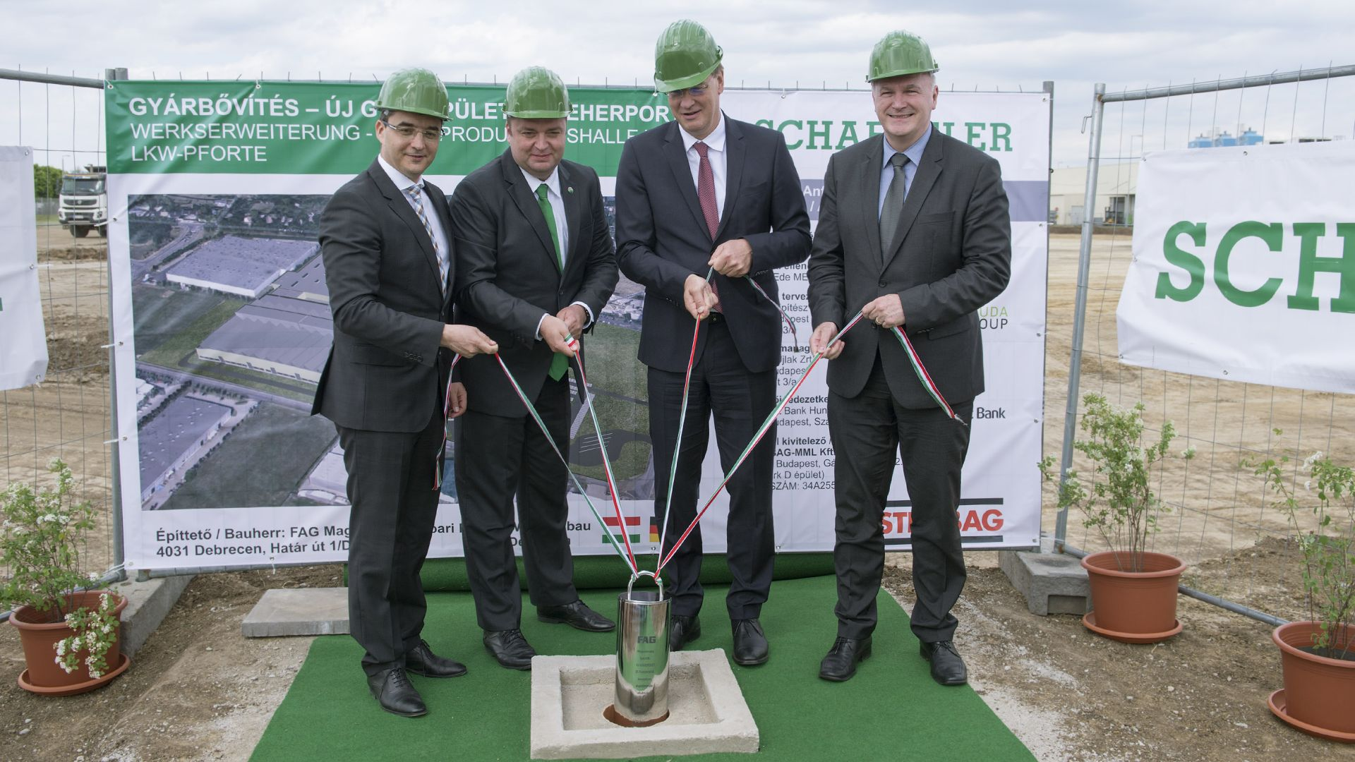 The cornerstone of the new manufacturing hall has been laid
