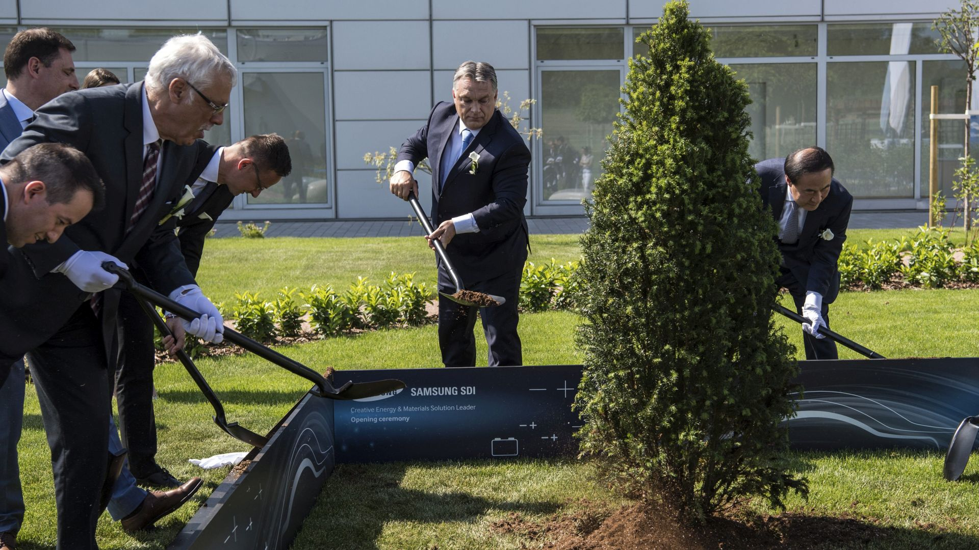 Decision makers of the company and the government planted a tree in at the plant together